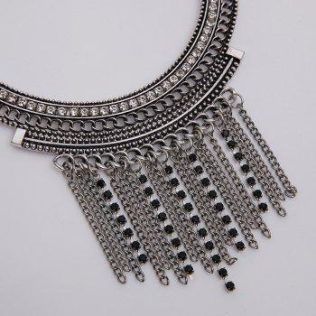 Rhinestone Embellished Chains Necklace - SILVER