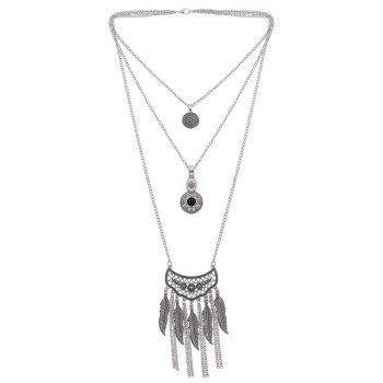 Multilayered Chain Feather Necklace