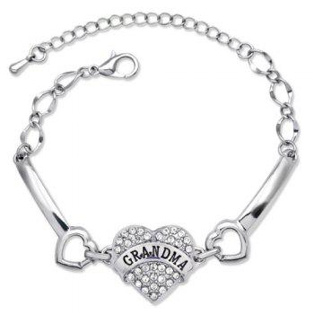 Elegant Rhinestone Engraving GRANDMA Heart Bracelet For Women