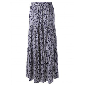 Elegant Printed In The Waist Long Skirt For Women