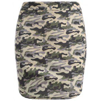 Fashionable High-Waisted Skinny Camo Print Women's Skirt