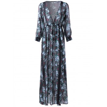 Stylish V-Neck Three Quarter Sleeve Chiffon Printing Maxi Dress For Women