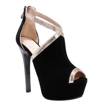 Trendy Colour Splicing and Zipper Design Women's Peep Toe Shoes - BLACK 40