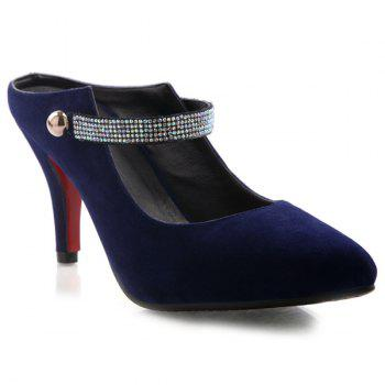 Trendy Pointed Toe and Flock Design Women's Slippers - DEEP BLUE 43
