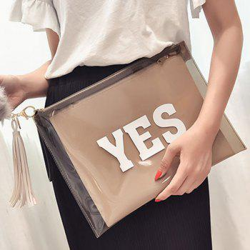 Trendy Transparent Plastic and Letter Print Design Women's Clutch Bag