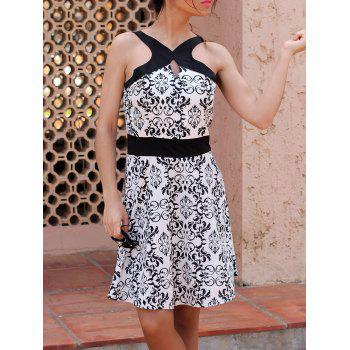 Buy Floral Print Active Spaghetti Strap Hollow Women's Dress WHITE