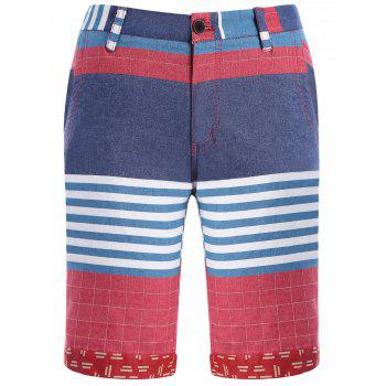 Color Block Stripes Plaid Pattern Men's Straight Leg Zipper Fly Shorts