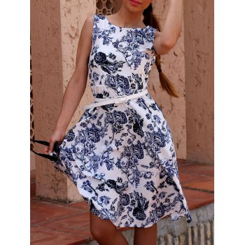 Retro Style Women's Jewel Neck Sleeveless Floral Print Belted Flare Dress