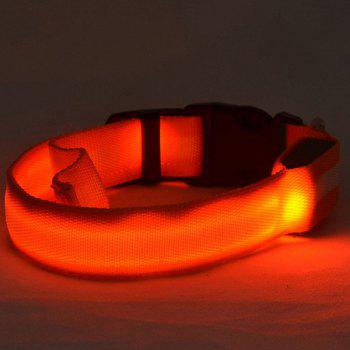 Durable Stripe Design LED Flashing Metal Buckle Night Walk Collar For Pet Dogs - ORANGE M