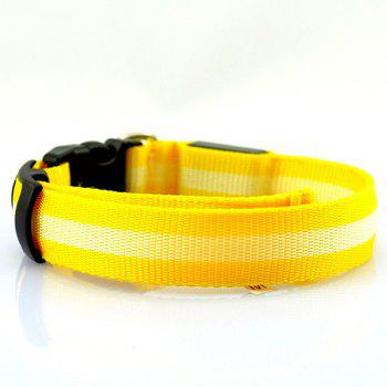 Durable Stripe Design LED Flashing Metal Buckle Night Walk Collar For Pet Dogs - YELLOW YELLOW