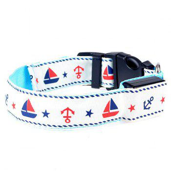 Stylish LED Luminous Star Sailing Boat Pattern Night Walk Collar For Dogs