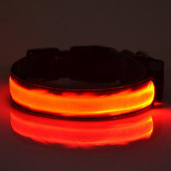 Stylish Fluorescent LED Luminous Night Walk Metal Buckle Collar For Dogs