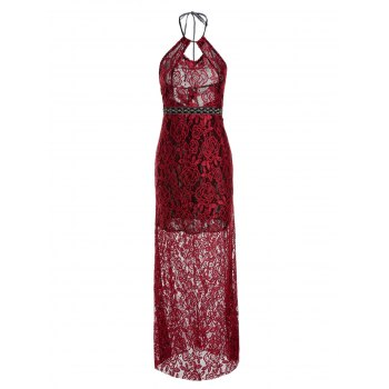 Sexy Style Spaghetti Strap Backless Hollow Out Lace Sleeveless Maxi Dress For Women