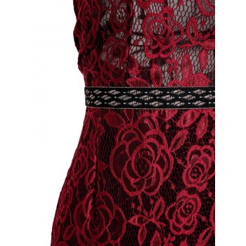 Sexy Style Spaghetti Strap Backless Hollow Out Lace Sleeveless Maxi Dress For Women - WINE RED L