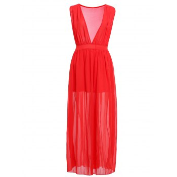 Buy Fashionable Plunging Neck Ruffle Solid Color Sleeveless Maxi Dress Women RED