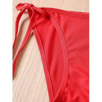Trendy Solid Color Lace-Up Halterneck Bikini Set For Women - RED RED