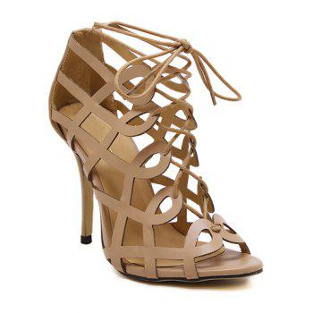 Party Solid Color and Hollow Out Design Sandals For Women