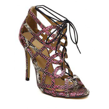 Party Snake Print and Hollow Out Design Sandals For Women