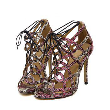 Party Snake Print and Hollow Out Design Sandals For Women - COLORMIX 37