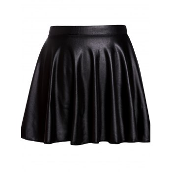 Stylish Elastic Waist Faux Leather Solid Color Women's Skirt