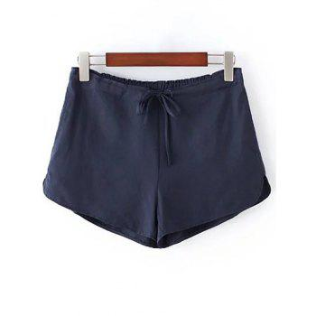 Casual Style Straight Leg Pure Color Drawstring Women's Shorts