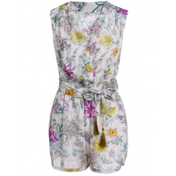 Stylish V Neck Sleeveless Flower Print Women's Romper