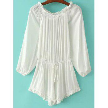 Stylish Off The Shoulder Ruffles Splicing Women's Romper