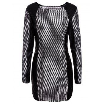 Sexy Jewel Neck PU Leather Splicing Long Sleeve Printed Dress For Women - WHITE AND BLACK L