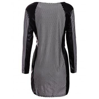 Sexy Jewel Neck PU Leather Splicing Long Sleeve Printed Dress For Women - L L