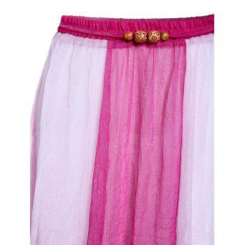 Bohemian Style Chiffon Slimming Color Block Women's Skirt - PLUM ONE SIZE