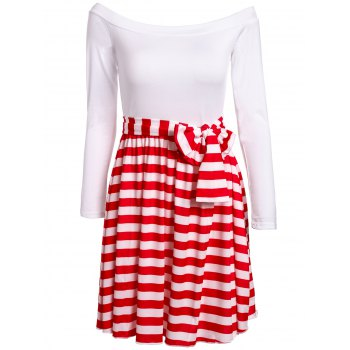 Sexy Slash Collar 1/2 Sleeve Striped Spliced Women's Dress - RED WITH WHITE RED/WHITE
