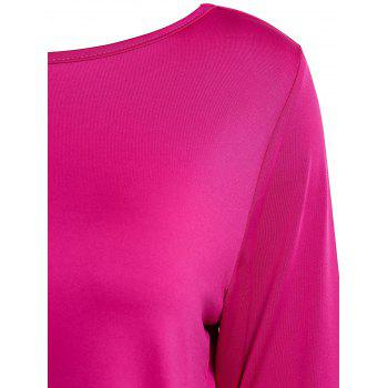 Graceful Jewel Neck Sequin Splicing Long Sleeve Blouse For Women - ROSE XL