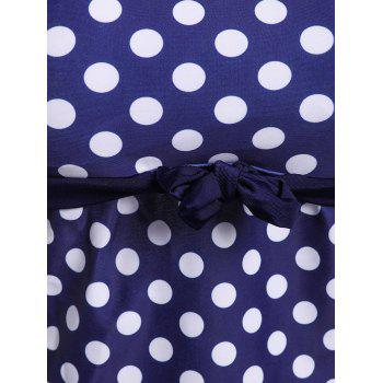 Stylish Women's Scoop Neck Hollow Out Polka Dot Two-Piece Swimsuit - PURPLISH BLUE XL