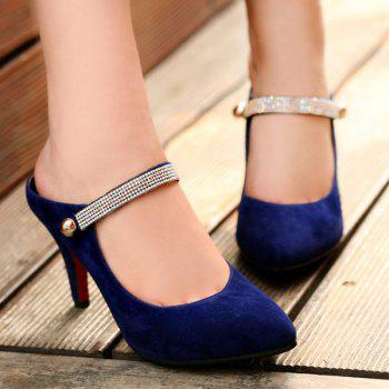 Trendy Pointed Toe and Flock Design Women's Slippers - DEEP BLUE DEEP BLUE
