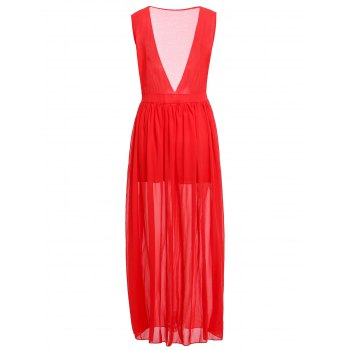 Fashionable Plunging Neck Ruffle Solid Color Sleeveless Maxi Dress For Women - RED XL