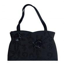 Trendy Black Color and Embroidery Design Women's Evening Bag