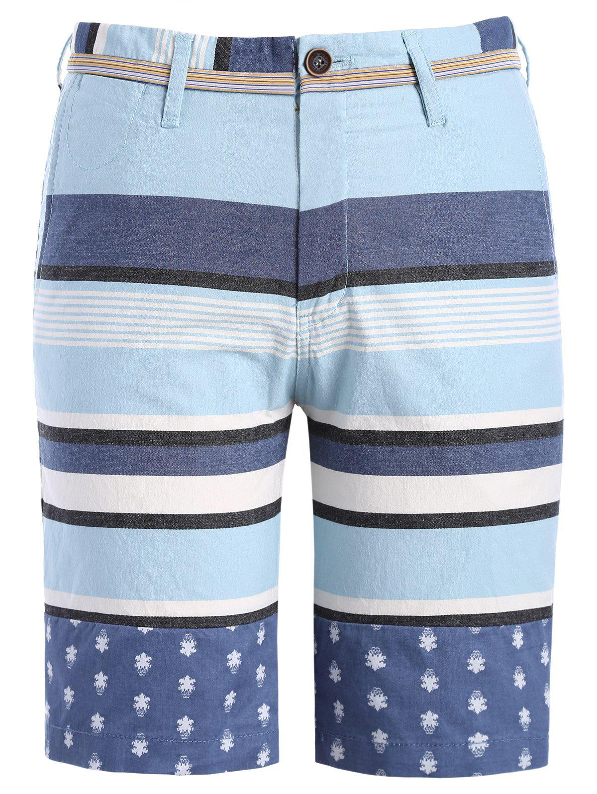 Classic Color Block Stripes Pattern Men's Straight Leg Zipper Fly Shorts - XL LIGHT BLUE