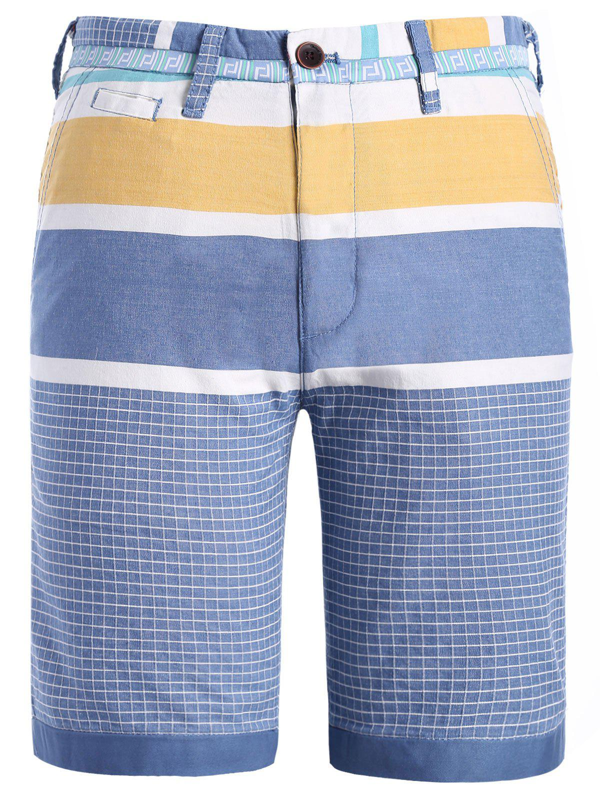 Fashion Men's Straight Leg Color Block Plaid Pattern Zipper Fly Shorts - YELLOW XL