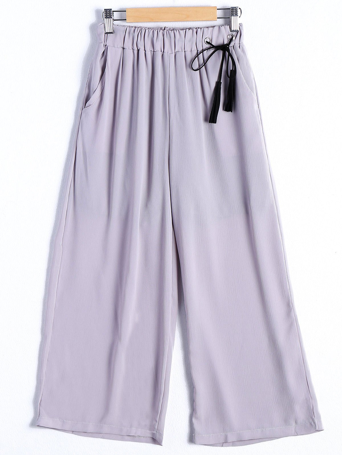 Casual Women's Chiffon Tie Waist Wide Leg Pants - ONE SIZE(FIT SIZE XS TO M) LIGHT GRAY