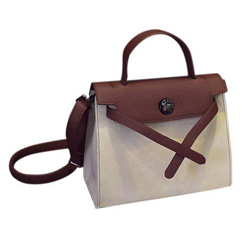 Trendy Color Splicing and PU Leather Design Women's Tote Bag - OFF WHITE