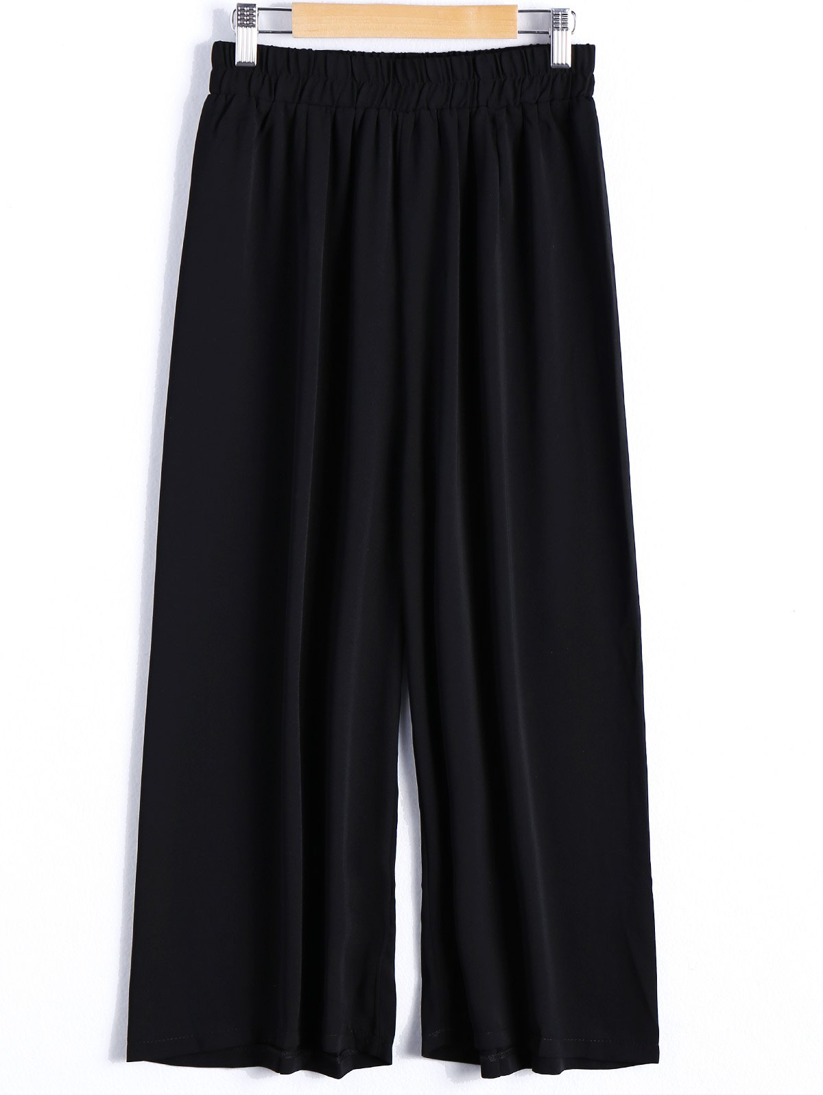 Casual Women's Elastic Waist Wide Leg Pants - BLACK ONE SIZE(FIT SIZE XS TO M)