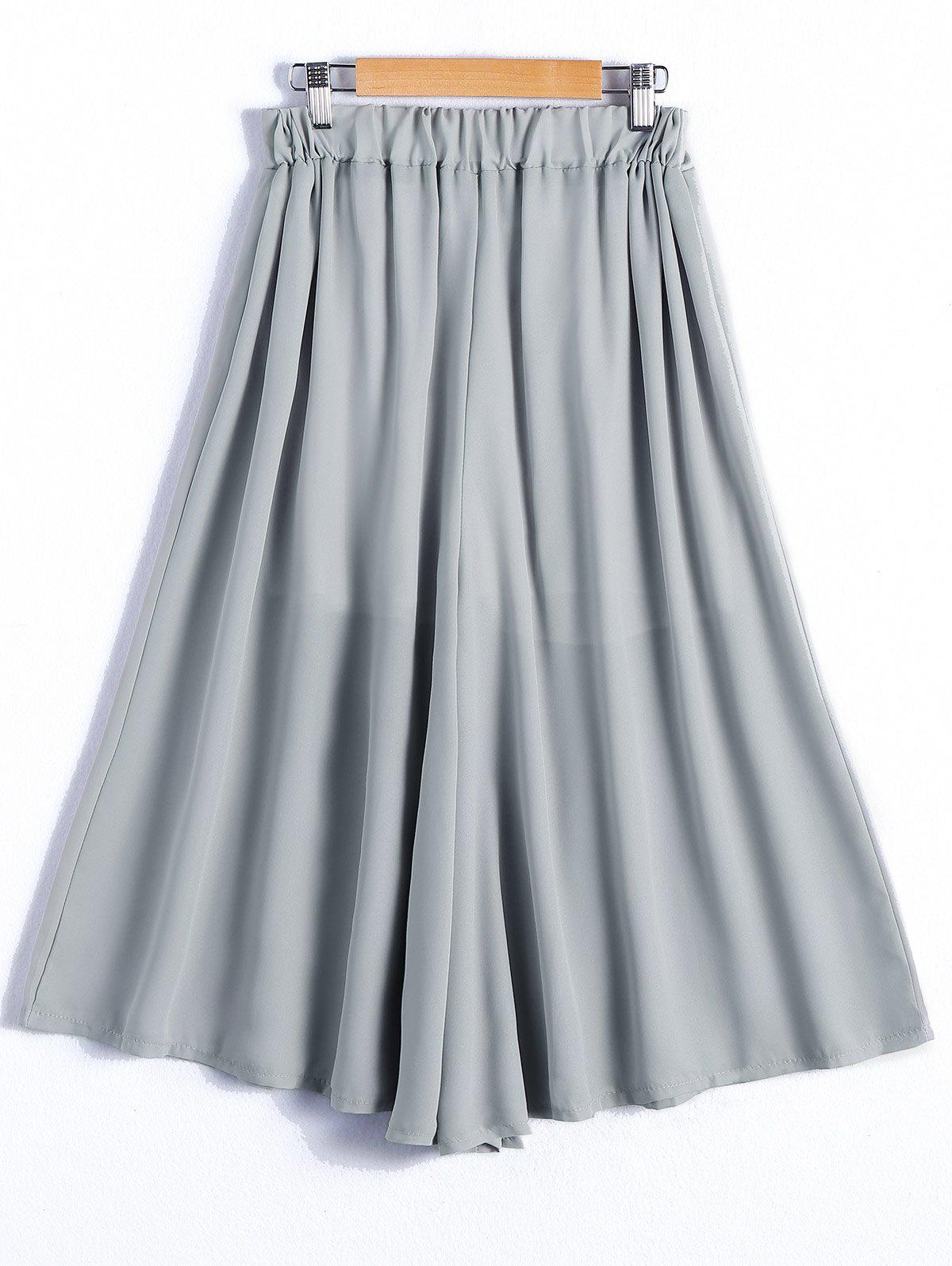 Simple Women's Elastic Waist Wide Leg Pants - GRAY ONE SIZE(FIT SIZE XS TO M)