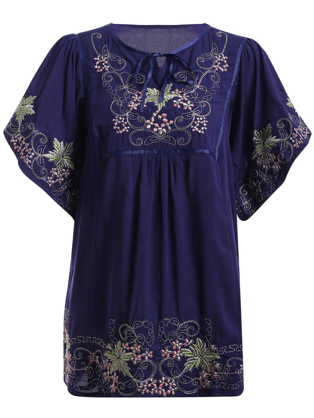 Ethnic Style Bell Sleeve Tie Neck Embroidery Top For Women - PURPLISH BLUE ONE SIZE(FIT SIZE XS TO M)
