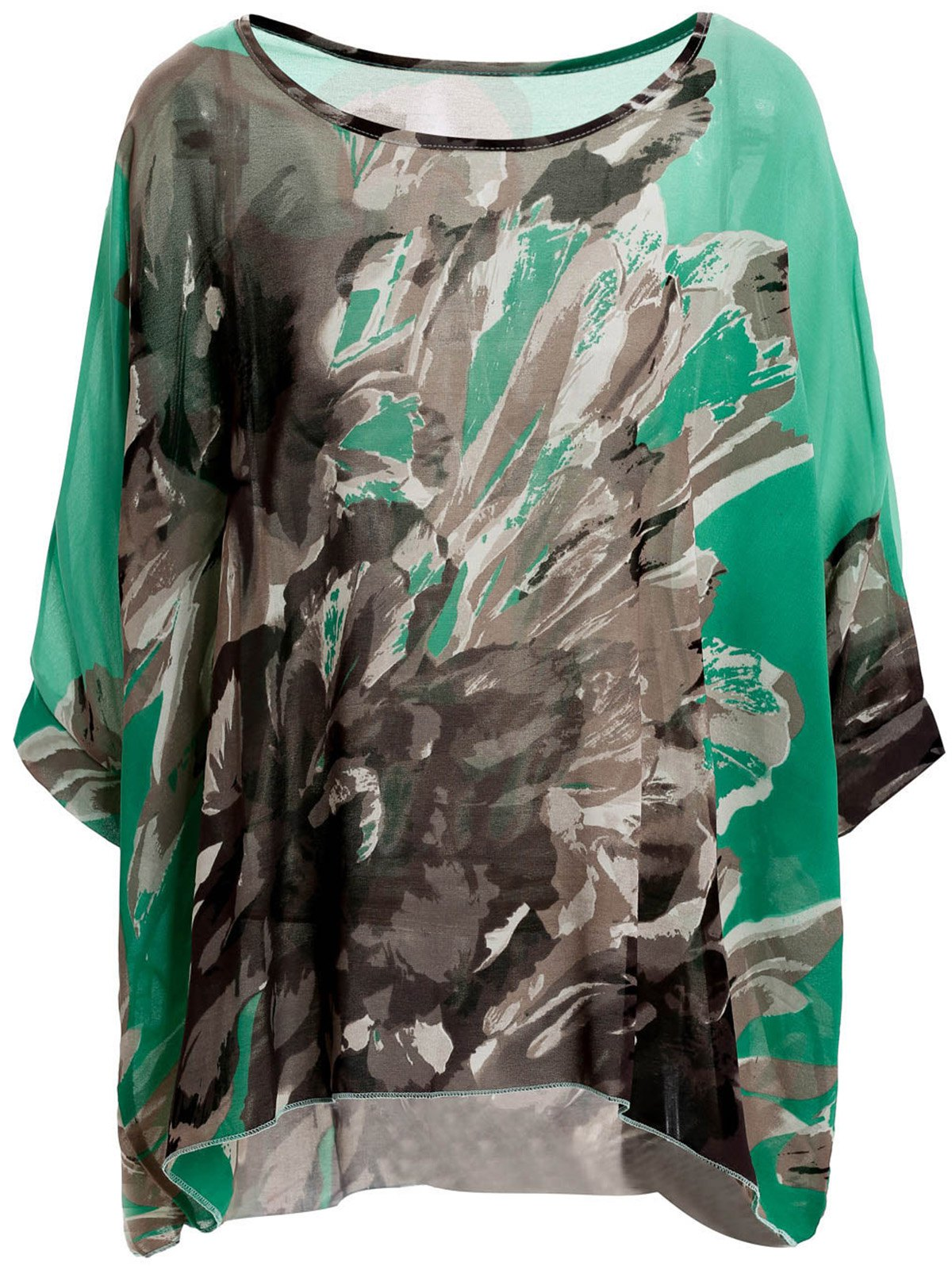 Stylish Scoop Neck Batwing Sleeve Loose-Fitting Floral Print Chiffon Blouse For Women - GRASS GREEN L