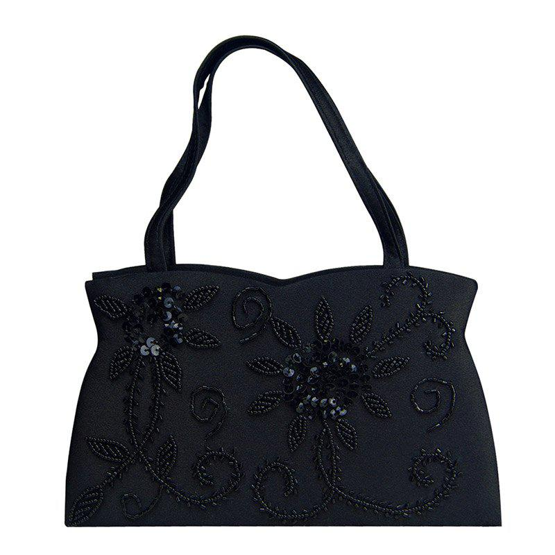Trendy Black Color and Embroidery Design Women's Evening Bag - BLACK