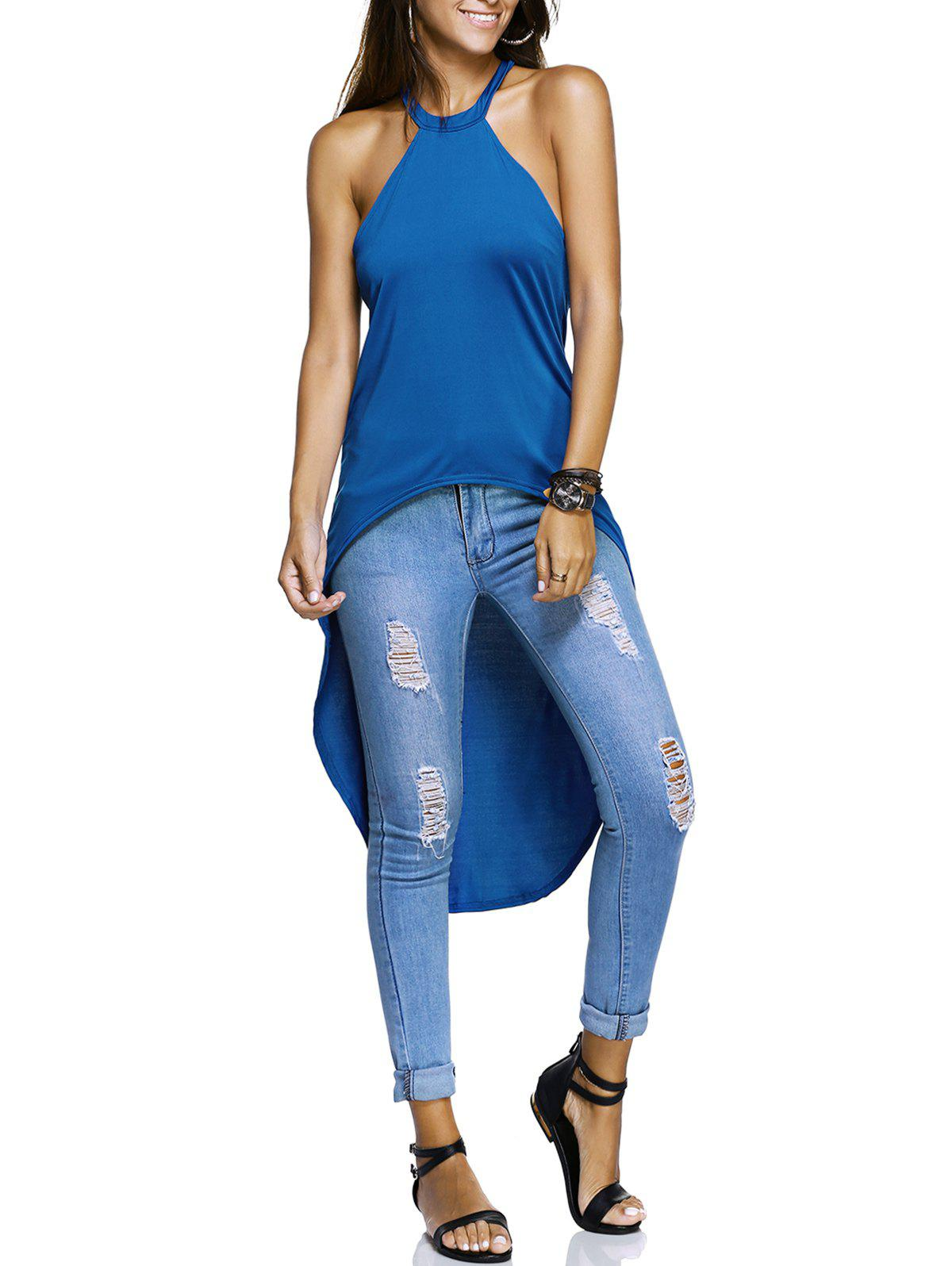 Women's Hollow Out High Low Top - BLUE XL