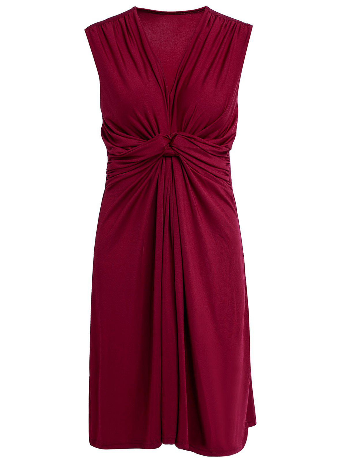 Vogue V-Neck Pleated Pure Color Dress For Women - L WINE RED