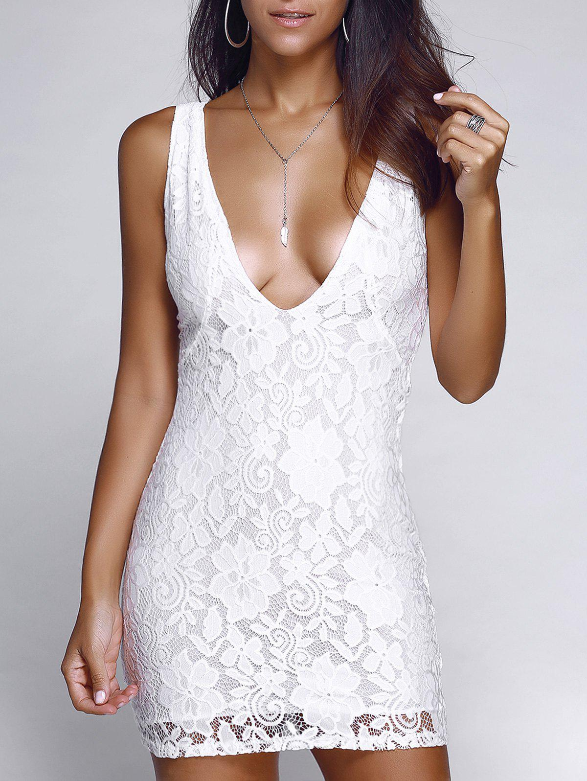 Alluring Plunging Neck Crochet Lace Mini Dress - WHITE XL