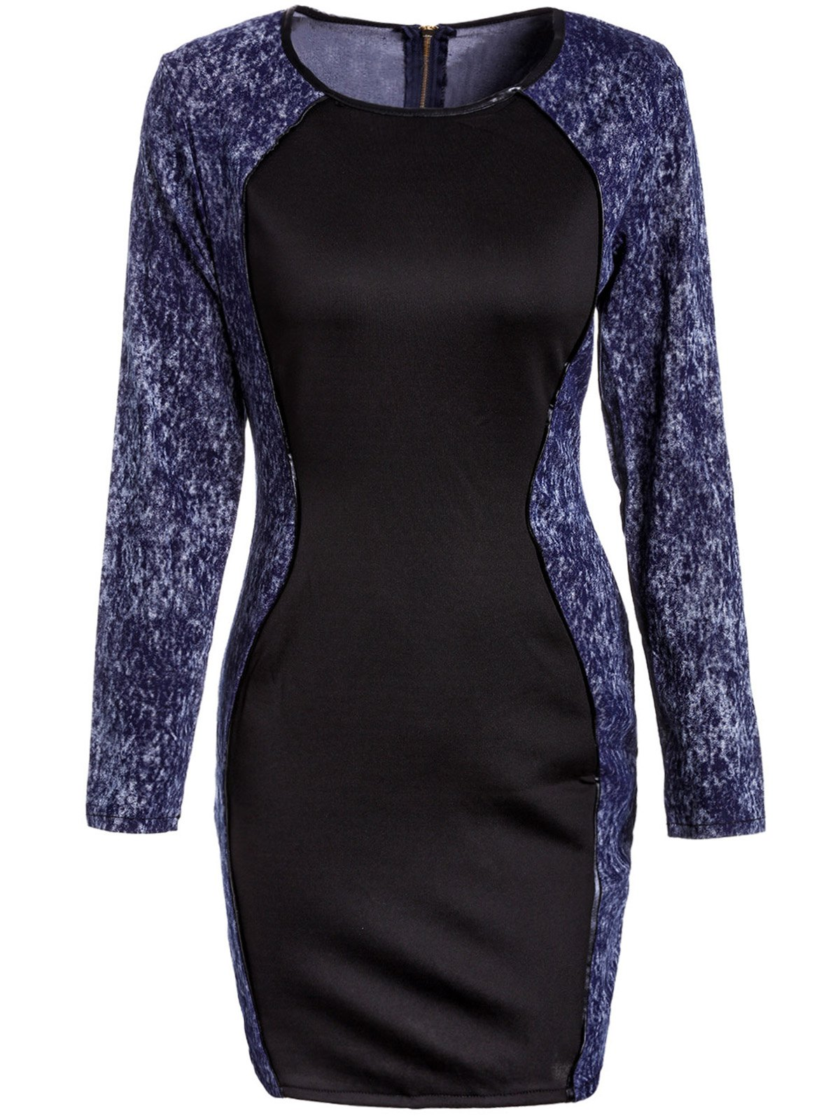 Sexy Long Sleeve Scoop Neck Denim Splicing Dress For Women - ONE SIZE(FIT SIZE XS TO M) BLUE