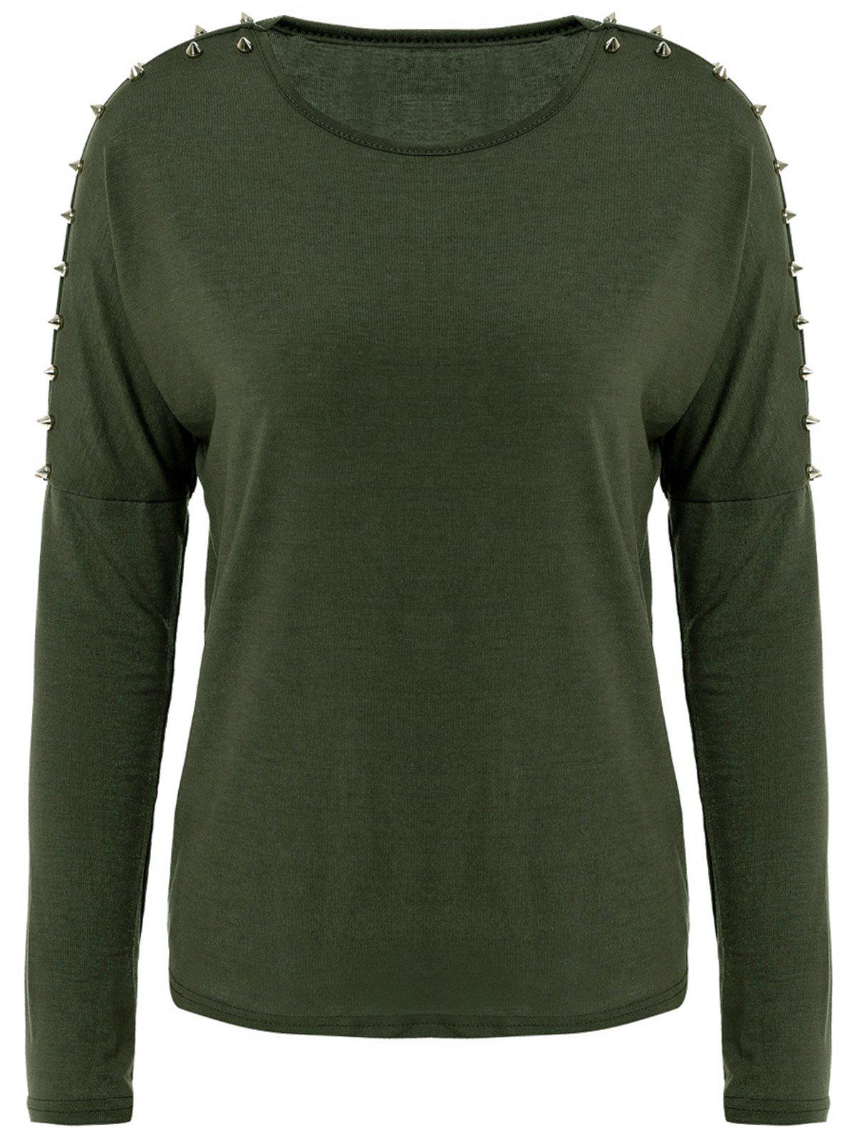 All-Match Solid Color Scoop Collar Rivet Shoulder Long Sleeves Women's T-shirt - GREEN ONE SIZE